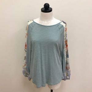 NWT Umgee Sage Green Top with Floral Long Sleeve